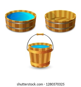 Wooden buckets with clean drinking water.  Empty bowl or pelvis. Vector illustration isolated on white background.