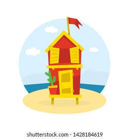 Wooden Bungalow with Flag on Tropical Coast of Sea, Seaside Holiday Vector Illustration