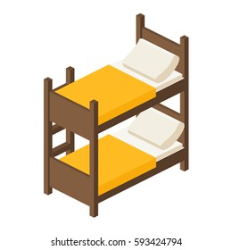 Wooden bunk bed with stairs in isometric view, bed for children in two tiers in a flat style, vector illustration isolated on white background