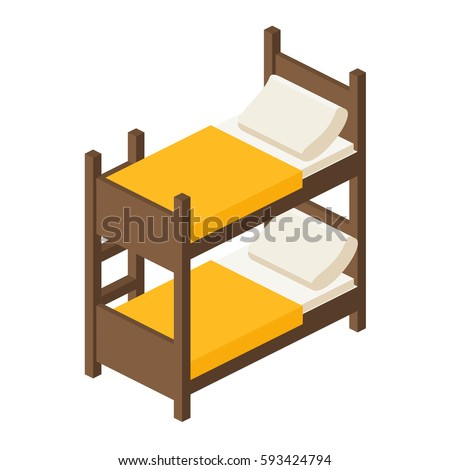 Wooden Bunk Bed Stairs Isometric View Stock Vektorgrafik Lizenzfrei