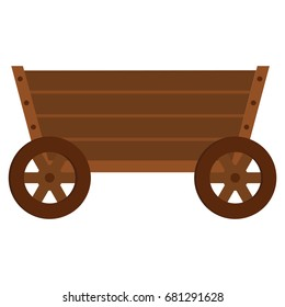 Wooden cart flat cartoon icon. Wagon vector illustration for design and web isolated on white background.