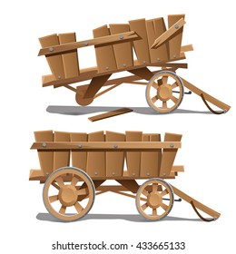 Wooden cart isolated on a white background. Cartoon vector close-up illustration.