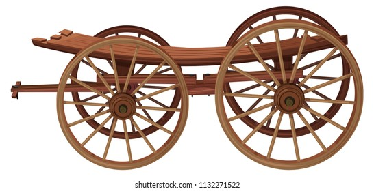 A wooden cart on white background illustration