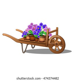Wooden cart with potted flowers isolated on white background. Cartoon vector illustration close-up.