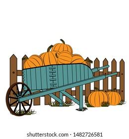 Wooden cart standing by a fence full of ripe pumpkins. Harvesting pumpkins. Vector illustration