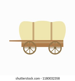 A wooden cart. Wagon with wooden wheels. Vector illustration. EPS 10.