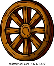 Wooden cart wheel. Old object with cracks. Element of the village and medieval. Detail of the mechanism for the ride.