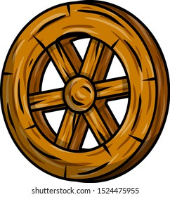 Wooden cart wheel. Old object with cracks. Detail of mechanism for ride. Element of village and medieval. Cartoon hand drawn illustration