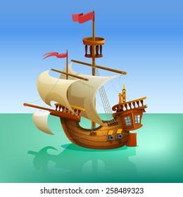 Wooden cartoon ship. Vector illustration.