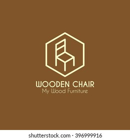 Wooden chair furniture business sign vector template for furniture store, home decor boutique design template. vector illustration