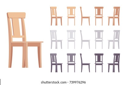 Wooden chair furniture set. Solid wood seat for dining table, simple natural beauty design. Different colors and positions. Vector flat style cartoon illustration isolated on white background