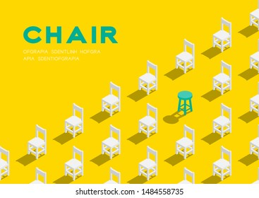 Wooden chair and stool 3D isometric pattern, Furniture lifestyle concept poster and banner horizontal design illustration isolated on yellow background with copy space, vector eps 10