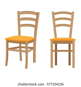 Wooden chair. Vector isolated illustration