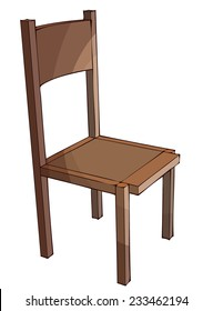 Wooden Chair, Vector isolated on White Background, outlines and Color available on different Layers.