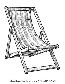 Wooden chaise lounge, beach chair illustration, drawing, engraving, ink, line art, vector
