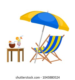 Wooden chaise lounge. Sun lounger, deckchair, sunbed, beach chair with umbrella. Table with glass of cocktail and coconut. Vector illustration in flat style