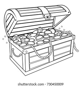 A wooden chest filled with gold treasure. Vector black and white coloring book page