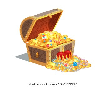 Wooden chest full of ancient royal shiny treasures. King crown, luxurious jewelry and gold coins. Old medieval treasure isolated vector illustration.