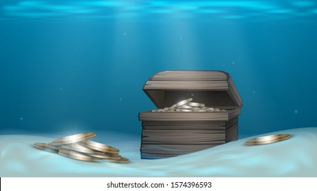 Wooden chest with gold coins on the seabed, treasure of a sunken ship, pirate treasure
