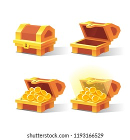 Wooden Chest set for game interface. Vector illustration. Treasure chest of gold coins. Closed, empty, chest with golden coins. Icons cartoon coins for web. Transparent objects. Dollar Sign.