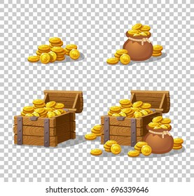 Wooden Chest set for game interface. Vector illustration. treasure of gold coins on transparent background: closed, empty, chests with golden coin.Icons cartoon coins for web. Stack, bag.