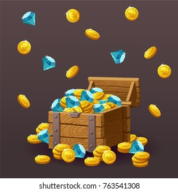 Wooden Chest set for game interface. Vector illustration. Treasure of gold coins, blue crystals, gemstones, gems, diamonds. Icons cartoon coins for web. Business, finance concept. Flying,dropping gold