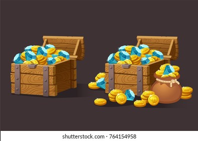 Wooden Chest set for game interface. Vector illustration. Treasure of gold coins, blue crystals, gemstones, gems, diamonds. Icons cartoon coins for web. Business, finance concept.