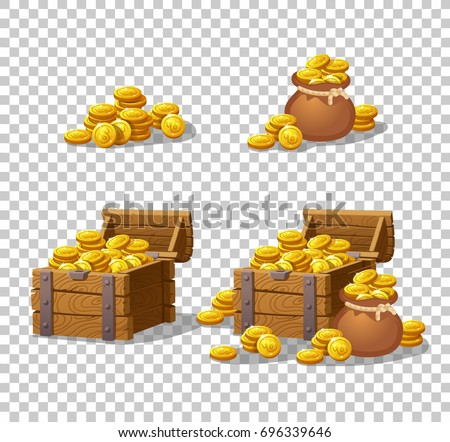 Wooden Chest Set Game Interface Vector Stock Vector Royalty Free