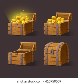 Wooden Chest set for game interface.Vector illustration. treasure chest of gold coins on dark background: closed, empty, chest with golden coins.