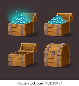 Wooden Chest set for game interface.Vector illustration.Treasure chest of blue crystals,gemstones,diamonds on dark background: closed, empty, chest with gems. Gui elements for mobile games