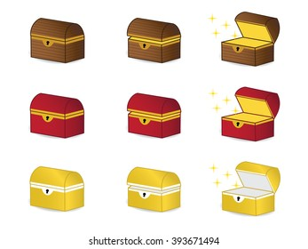 Wooden chest, treasure chest, red chest, golden chest, mystery box, coffer