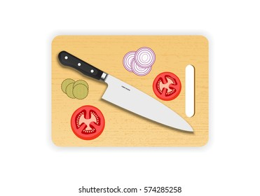Wooden chopping or cutting board with chef knife on white background. Vector illustration.