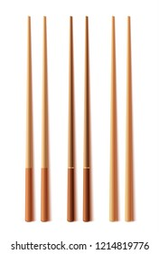 Wooden chopsticks isolated on white background. Vector illustration