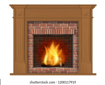 Wooden classic fireplace with wooden surround. Decorative element for design of the living room. Realistic detailed vector isolated on white background.