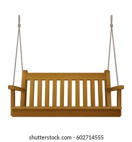 wooden classic outdoor hanging patio porch swing bench furniture with ropes isolated on white background. vector illustration