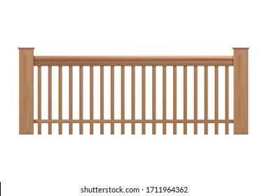 Wooden classic retro style handrails, banister or wood engraved balusters of fencing, 3d realistic vector illustration isolated on transparent background.