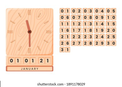 wooden clock vector with date, month and year. available numbers that have been set. white background