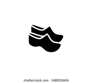 Wooden clogs vector isolated flat illustration. Wooden clogs icon