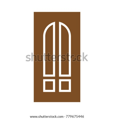 Wooden Closed Front Door Entrance Modern Stock Vector Royalty Free