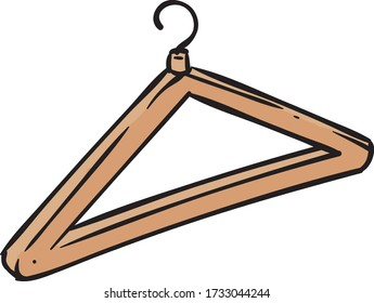 Wooden Clothes Hanger Isolated on White Background