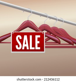 Wooden clothes hangers with sale tag, label. Vector illustration for your advertising and promotion