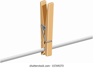 wooden clothespin clipped clothes line stock vector royalty free