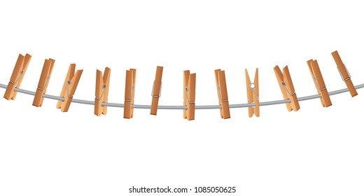 Wooden clothespin on clothes line holding rope vector illustration isolated on white background. Clothesline for household, hang pin or peg