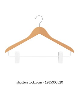 Wooden coat hanger with clips, clothes hanger on a white background.