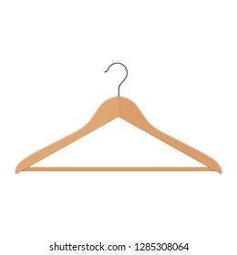 Wooden coat hanger, clothes hanger on a white background.