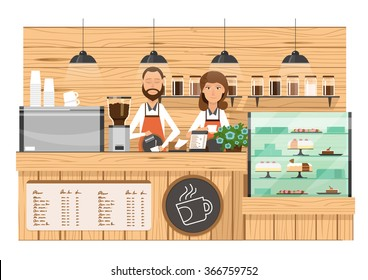 wooden Coffee bar, coffee shop counter vector illustration with barista