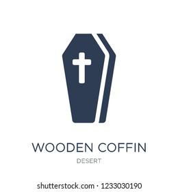 Wooden Coffin icon. Trendy flat vector Wooden Coffin icon on white background from Desert collection, vector illustration can be use for web and mobile, eps10