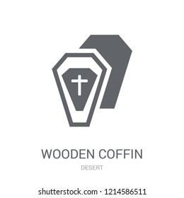 Wooden Coffin icon. Trendy Wooden Coffin logo concept on white background from Desert collection. Suitable for use on web apps, mobile apps and print media.