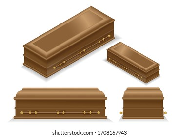 Wooden coffin isometric, side and front view on white background isolated.