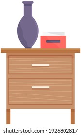 Wooden commode with drawers, vase and box of napkins isolated on white background. Bedroom interior element made of wood. Chest of drawers vector illustration. Furniture for room interior design
